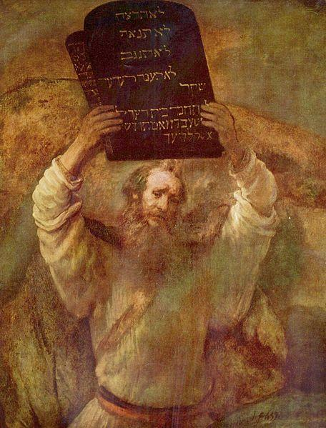 Moses with tablets of the Ten Commandments (1659), painting by Rembrandt